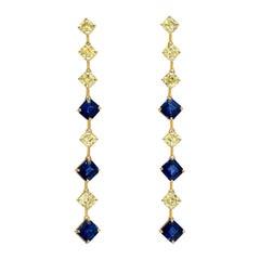 Sapphire Asscher Cut Fancy Yellow Diamond Gold Earrings