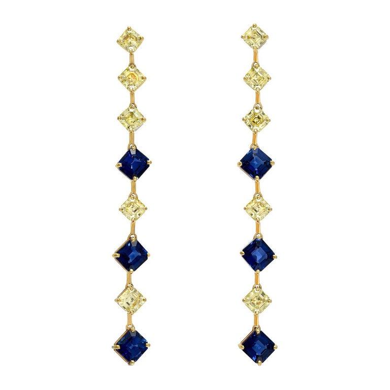 Sapphire Asscher Cut Fancy Yellow Diamond Gold Earrings For Sale