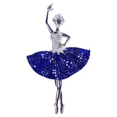 Sapphire Ballerina Brooch 18 Karat White Gold in Invisible Setting