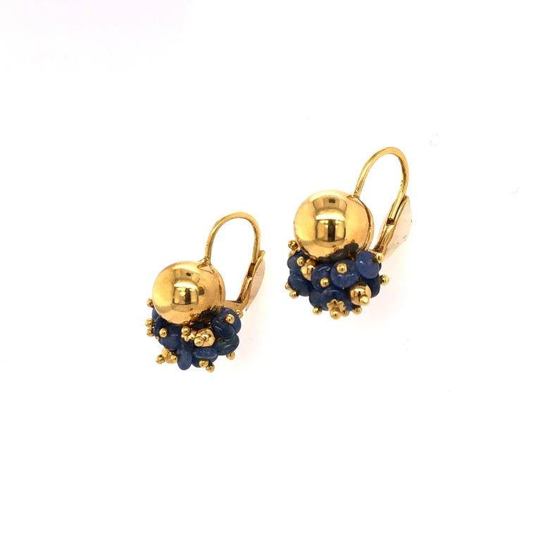 Contemporary Sapphire Bead Yellow Gold Earrings For Sale