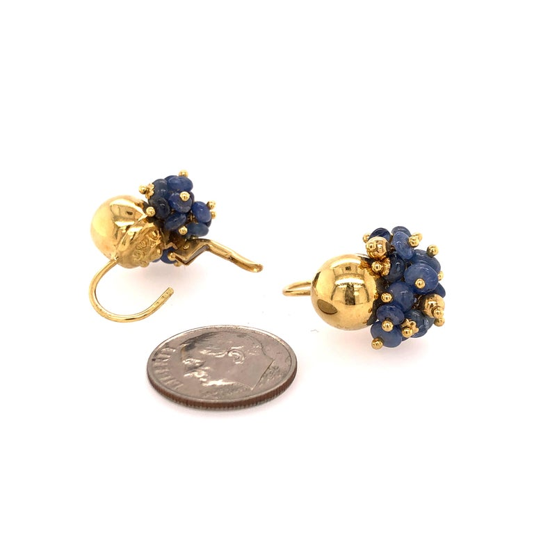 Sapphire Bead Yellow Gold Earrings In Good Condition For Sale In Dallas, TX