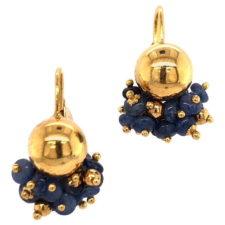 Sapphire Bead Yellow Gold Earrings For Sale