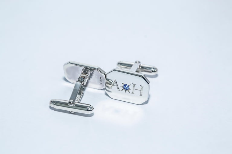 Neoclassical Sapphire Bespoke Sterling Silver Rectangular Engraved Modern Classic Cufflinks For Sale