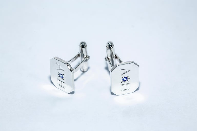 Round Cut Sapphire Bespoke Sterling Silver Rectangular Engraved Modern Classic Cufflinks For Sale