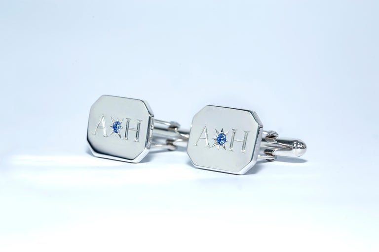 Sapphire Bespoke Sterling Silver Rectangular Engraved Modern Classic Cufflinks In New Condition For Sale In London, GB
