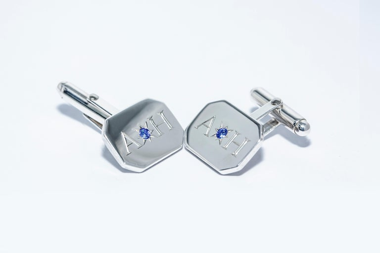 Sapphire Bespoke Sterling Silver Rectangular Engraved Modern Classic Cufflinks For Sale 1
