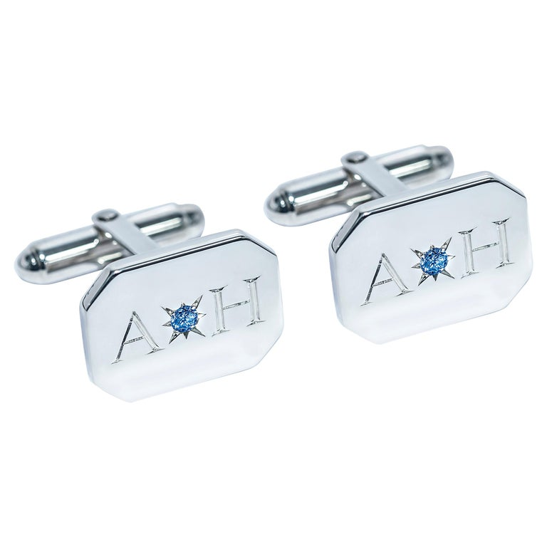 Sapphire Bespoke Sterling Silver Rectangular Engraved Modern Classic Cufflinks For Sale