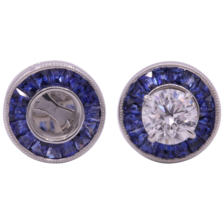 Sapphire Bezel Earrings 1.19 Carats Platinum