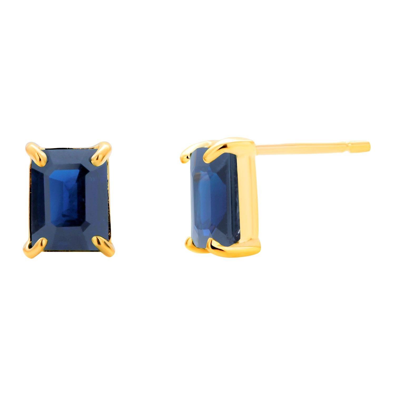 Sapphire Bezel Set Yellow Gold Stud Earrings Weighing 2.01 Carat