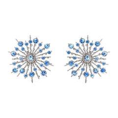 Sapphire Blue 9 Karat White Gold Soleil Stud Earrings Natalie Barney