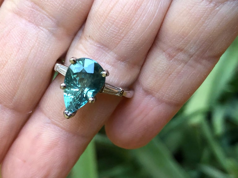 Pear Cut Teal Natural Sapphire Diamond Engagement Ring Gold For Sale