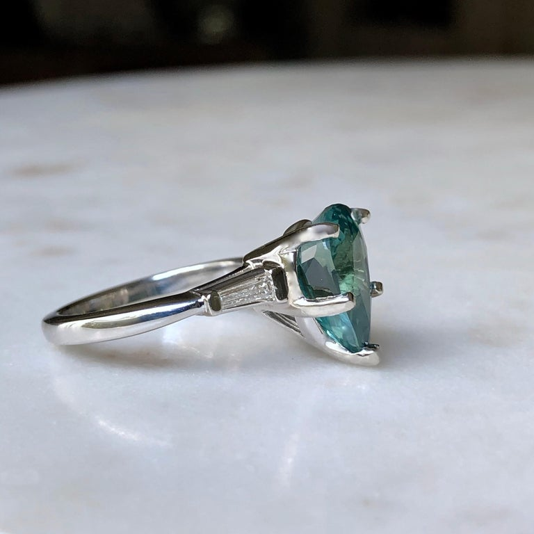 Teal Natural Sapphire Diamond Engagement Ring Gold In Excellent Condition For Sale In Brunswick, ME