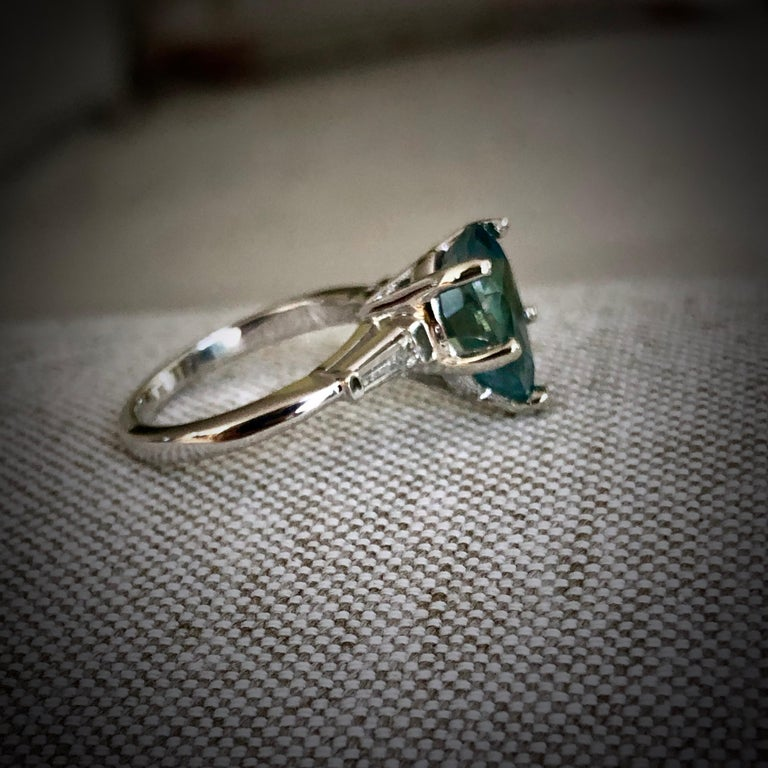 Teal Natural Sapphire Diamond Engagement Ring Gold For Sale 2