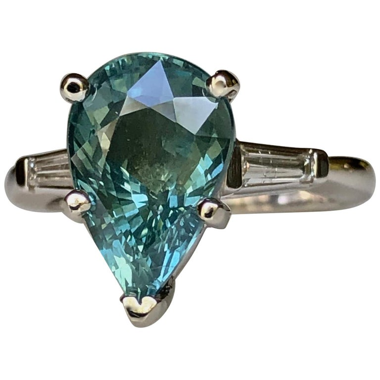Teal Natural Sapphire Diamond Engagement Ring Gold For Sale