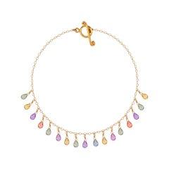 Sapphire Briolette Bracelet in 18 Karat Yellow Gold