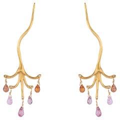 Sapphire Briolette Chandelier Branch Earrings in Yellow Gold