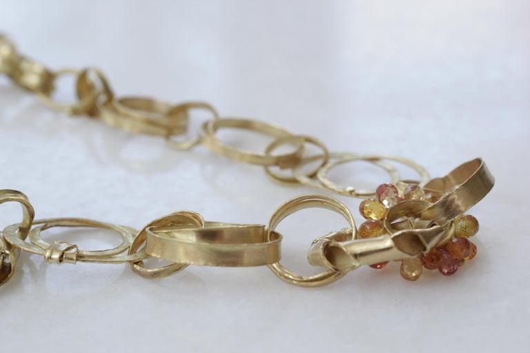 Sapphire Briolettes 18 Karat Gold Link Chain Necklace  For Sale 5
