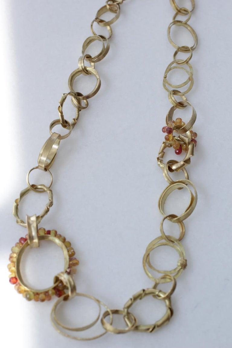 Sapphire Briolettes 18 Karat Gold Link Chain Necklace  For Sale 6