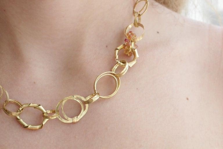 Sapphire Briolettes 18 Karat Gold Link Chain Necklace  For Sale 8