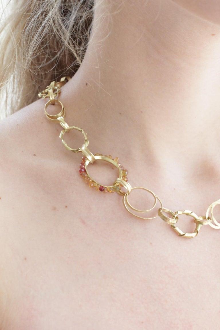 Sapphire Briolettes 18 Karat Gold Link Chain Necklace  For Sale 10