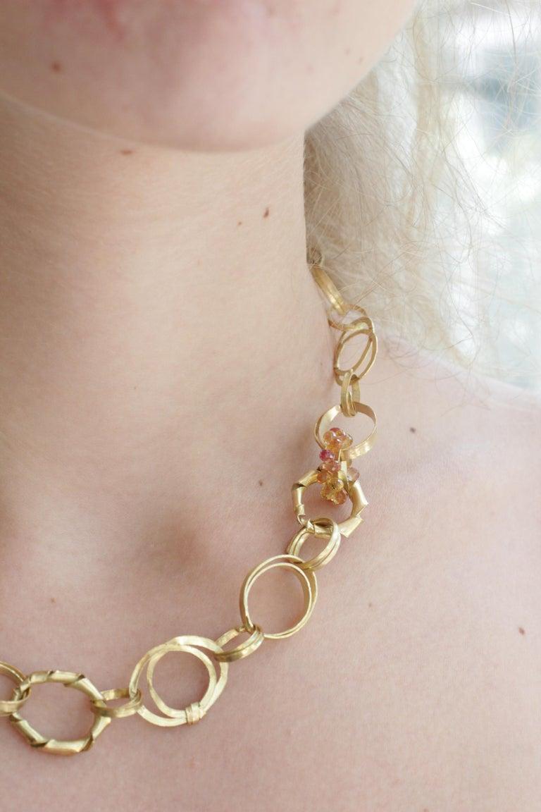 Sapphire Briolettes 18 Karat Gold Link Chain Necklace  For Sale 11