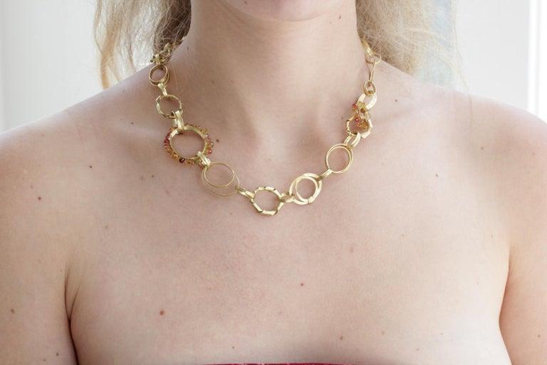 Sapphire Briolettes 18 Karat Gold Link Chain Necklace  For Sale 12