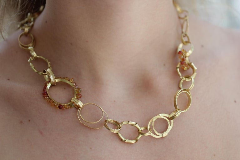 Sapphire Briolettes 18 Karat Gold Link Chain Necklace  For Sale 13