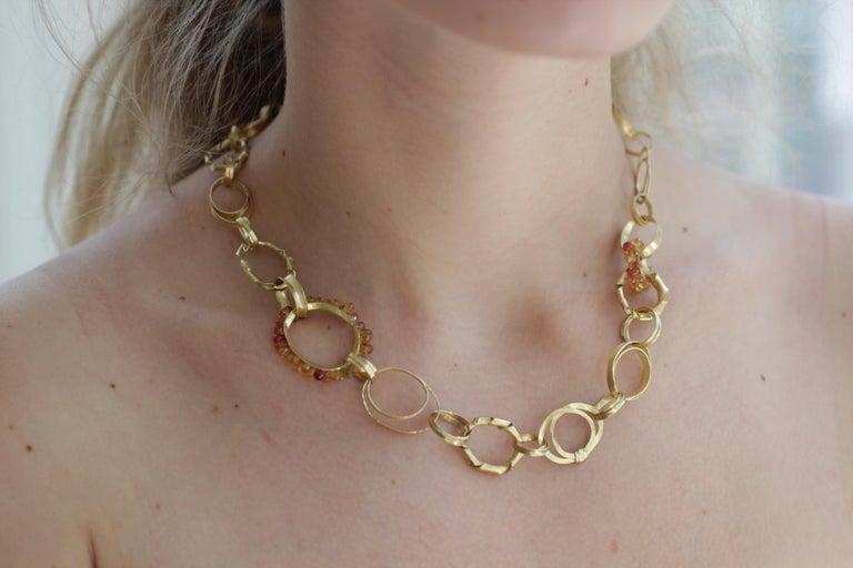 Sapphire Briolettes 18 Karat Gold Link Chain Necklace  For Sale 14