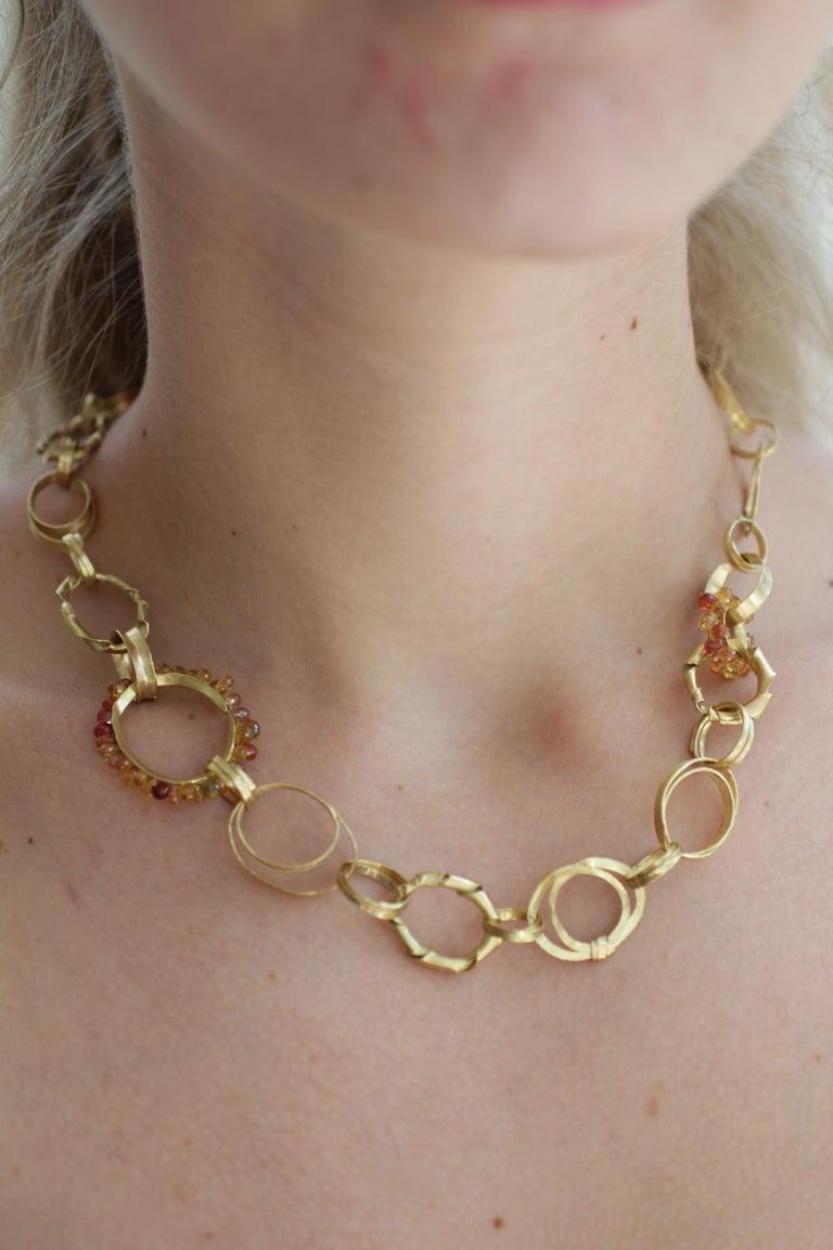 Sapphire Briolettes 18 Karat Gold Link Chain Necklace  For Sale 15