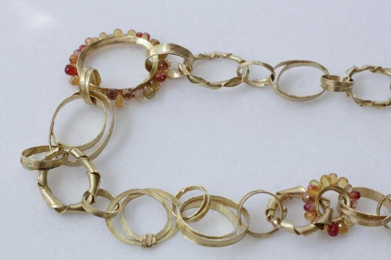Women's Sapphire Briolettes 18 Karat Gold Link Chain Necklace  For Sale