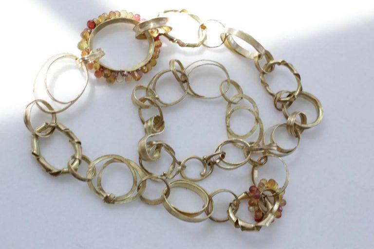 Sapphire Briolettes 18 Karat Gold Link Chain Necklace  For Sale 1