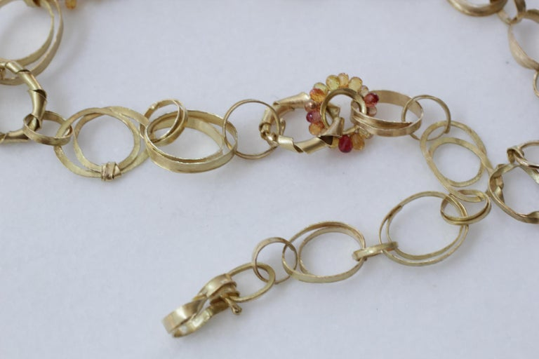 Sapphire Briolettes 18 Karat Gold Link Chain Necklace  For Sale 2