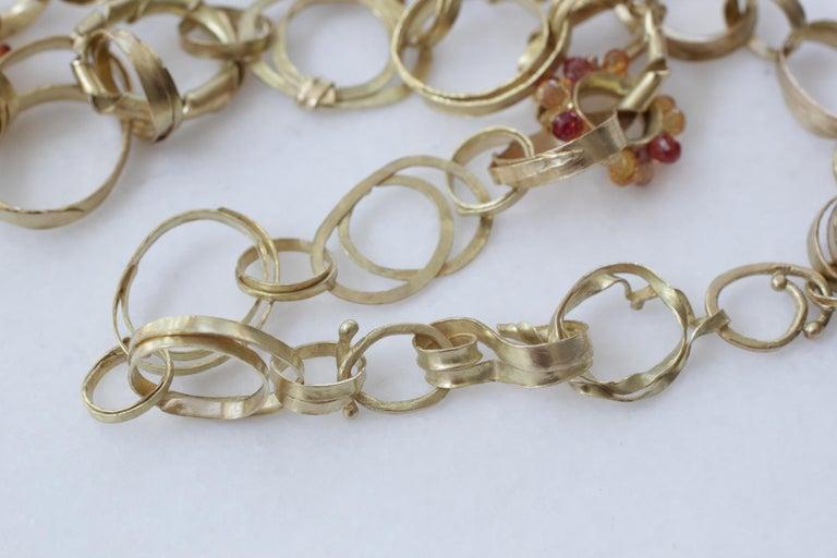 Sapphire Briolettes 18 Karat Gold Link Chain Necklace  For Sale 3