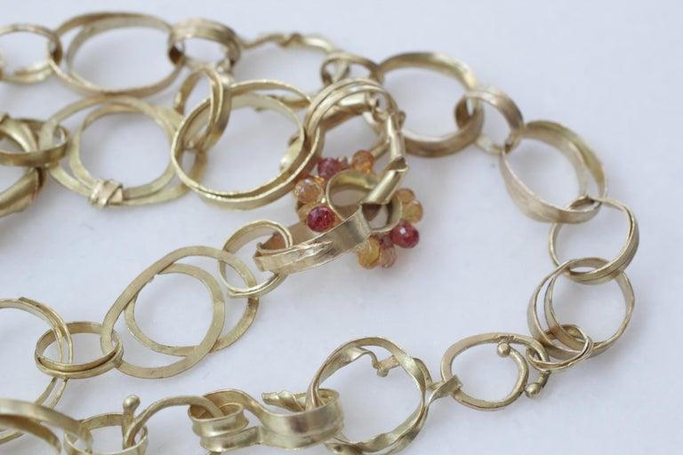 Sapphire Briolettes 18 Karat Gold Link Chain Necklace  For Sale 4