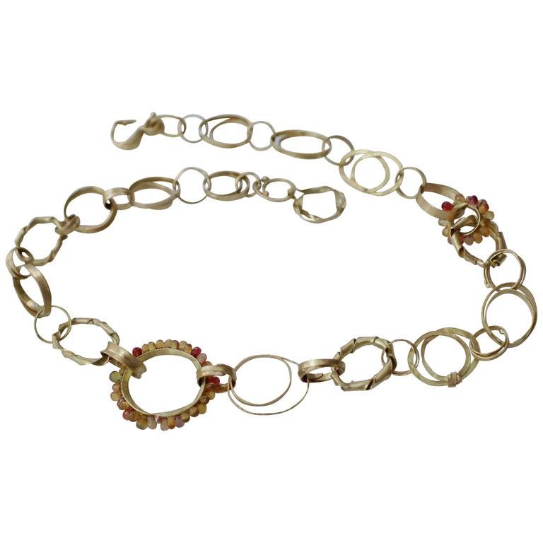 Sapphire Briolettes 18 Karat Gold Link Chain Necklace  For Sale
