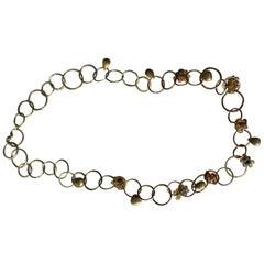 Sapphire Briolettes 18 Karat Solid Gold Link Chain Necklace Choker Modern Design