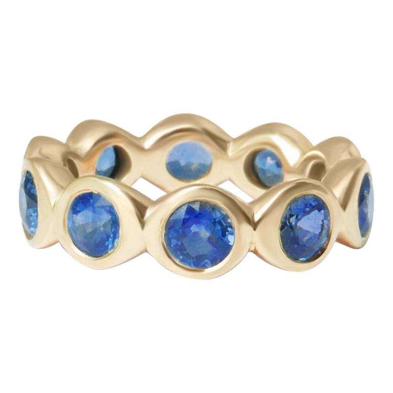 Sapphire Bubble Eternity Ring in 14 Karat Gold For Sale