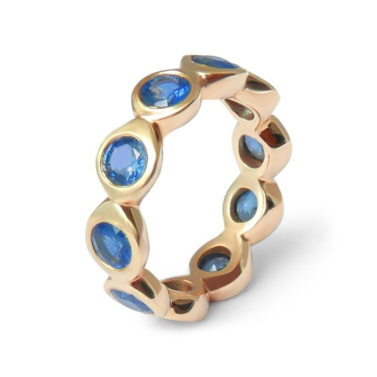 Round Cut Sapphire Bubble Eternity Ring in 14 Karat Gold For Sale