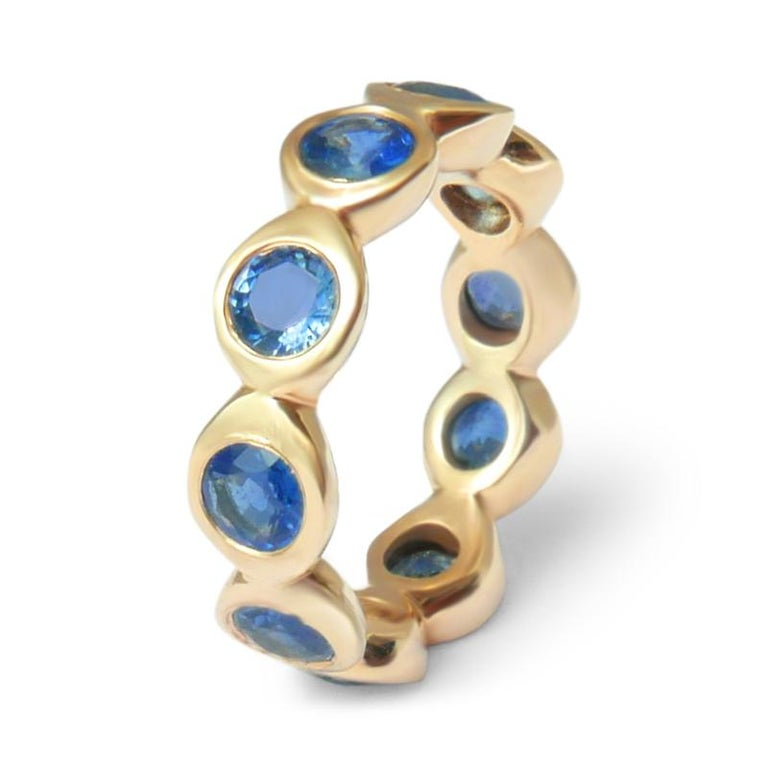 Sapphire Bubble Eternity Ring in 14 Karat Gold In New Condition For Sale In London, GB