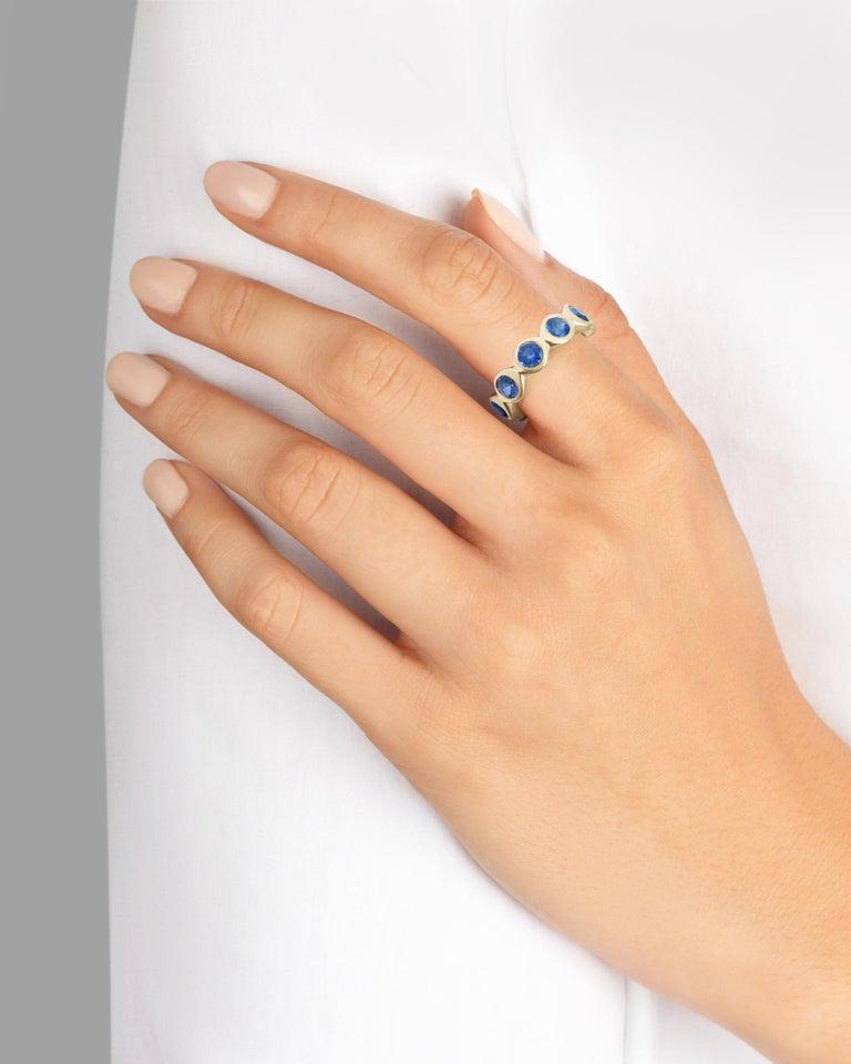 Women's Sapphire Bubble Eternity Ring in 14 Karat Gold For Sale