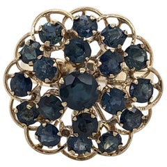 Sapphire Burst Yellow Gold Cluster Cocktail Ring