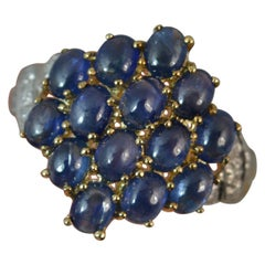 Sapphire Cabochon and Diamond 9 Carat Gold Cluster Ring