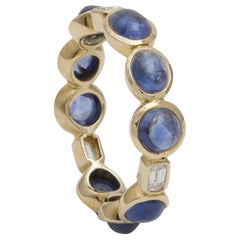 Sapphire Cabochon and Diamond Baguette Eternity Ring Handcrafted in 18K Gold
