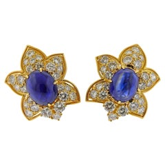 Sapphire Cabochon Diamond Gold Earrings