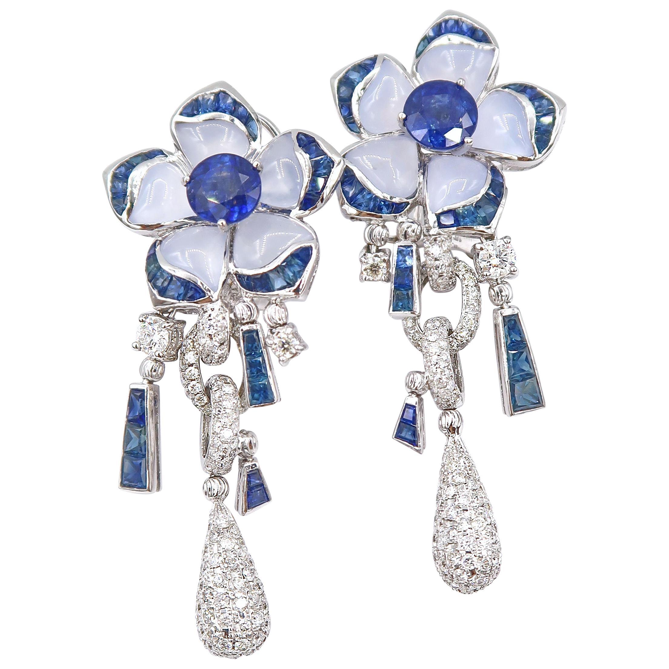 Sapphire Chalcedony Diamond Flower White Gold Drop Earrings