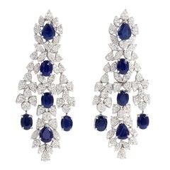 Sapphire Chandelier Diamond Earrings