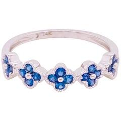 Sapphire Clover Ring, Blue Sapphire, 14 Karat White Gold, Flower, Stack