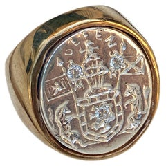 Sapphire Crest Signet Ring Sterling Silver Bronze Unisex J Dauphin