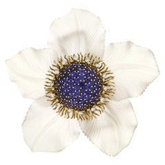 Sapphire Crystal Diamond Gold Morning Glory Daisy Brooch