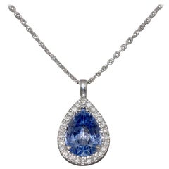 Sapphire ct 1.30 and White Diamonds ct 0.10 on White Gold 18K Pendant Necklace